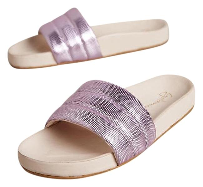 Item - Purple Metallic Leather Slides Sandals Size US 6 Regular (M, B)