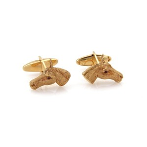 Da Vinci Signed Da Vinci 14k Yellow Gold Ruby 3D Horse Head Stud Cufflinks