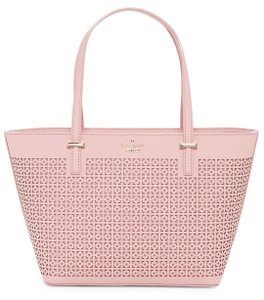Kate Spade New York Cedar Street Mini Harmony Perforated Leather Tote in Pink Bonnet