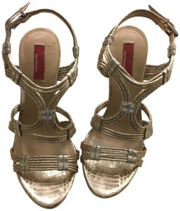 Saks Fifth Avenue Holiday Party Gold metallic Sandals