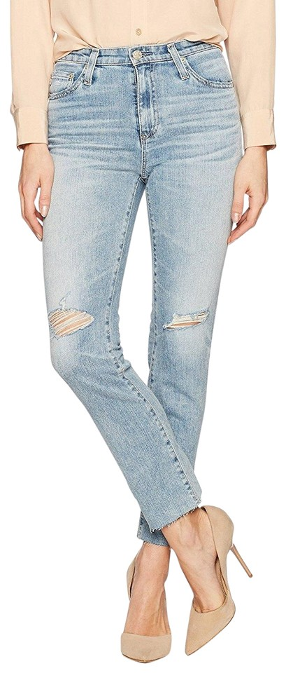 9e22b6e0cccd AG Adriano Goldschmied Blue Light Wash The Isabelle High-rise Anthropologie  Straight Leg Jeans