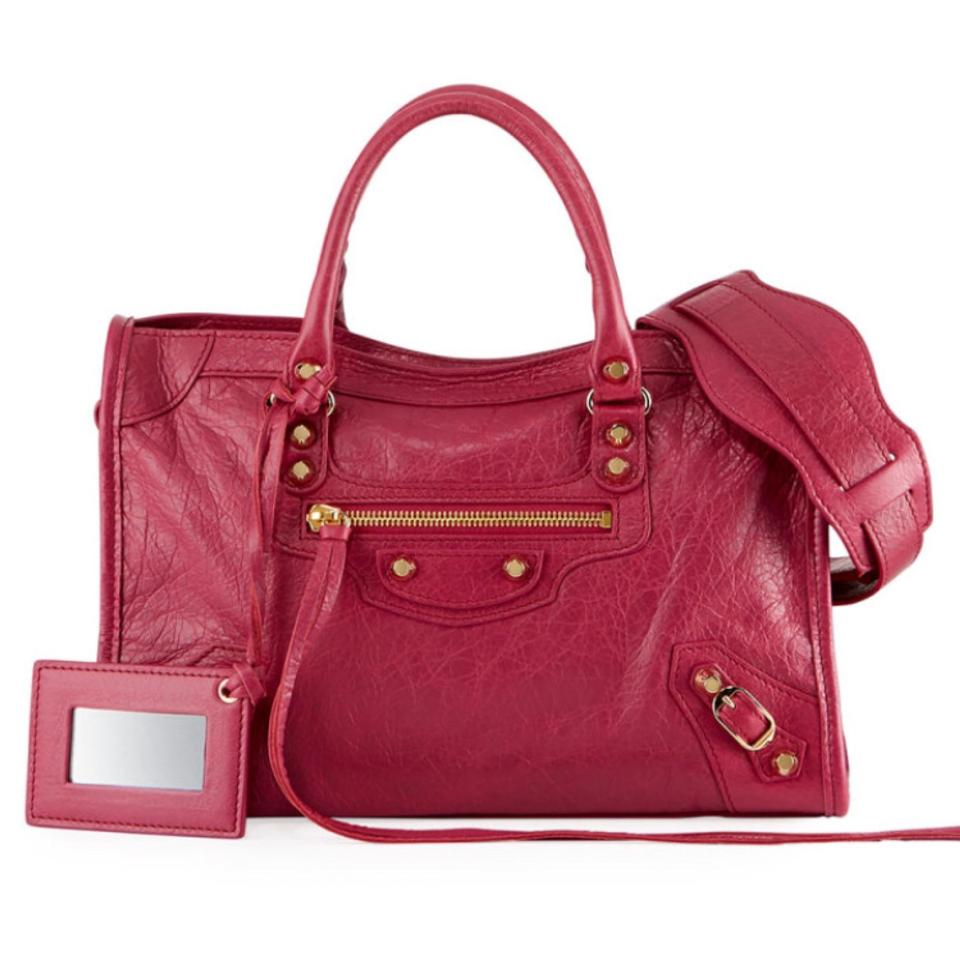 3a4064ad4f9 Balenciaga Classic City S Small Shoulder Rose Lambskin Leather Cross ...