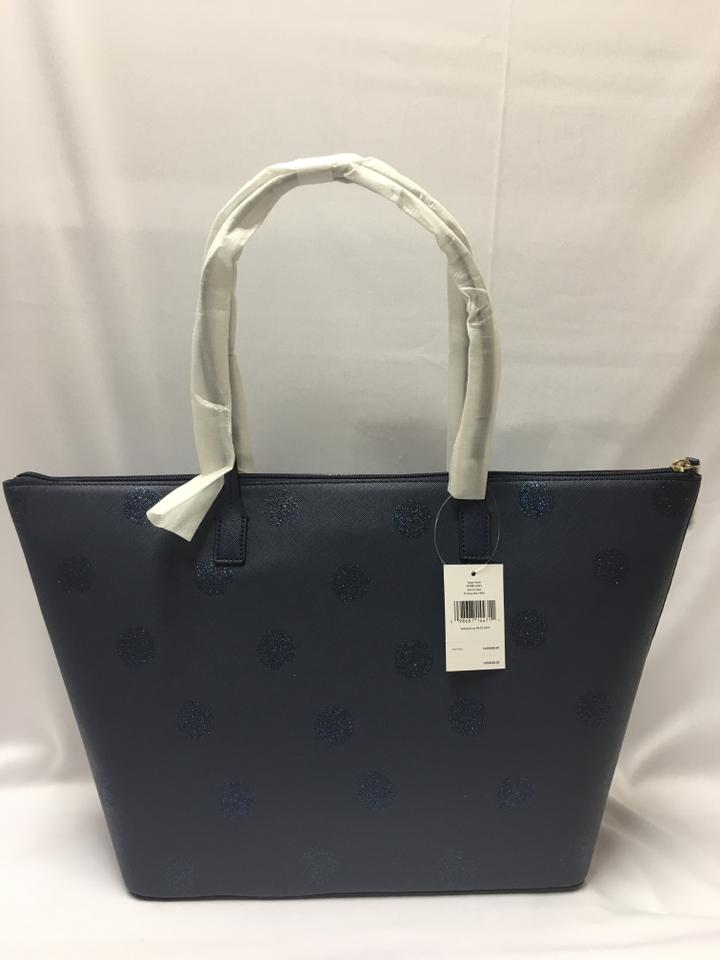 34f8ce72c016f Kate Spade Hani Haven Lane Large Hani Tote in french navy glitter dots  Image 10. 1234567891011