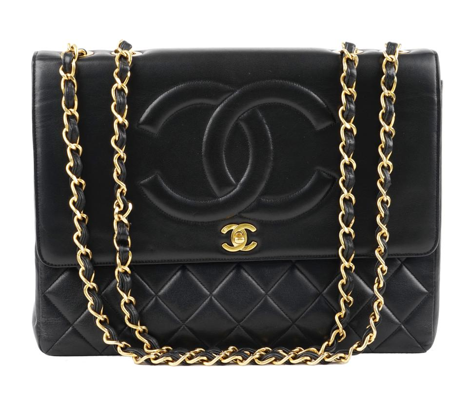 c8584a2ee57b Chanel Classic Flap XL Maxi Jumbo Quilted Matelasse Large Cc Chain Black  Lambskin Leather Shoulder Bag