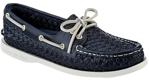 Sperry Woven Leather Navy Flats
