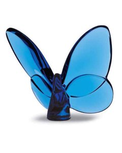 Baccarat Blue New In Box Two Lucky Crystal Butterflies In Sapphire Decoration