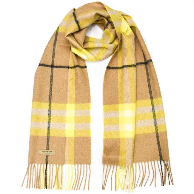Burberry Bright Lemon Giant Check Cashmere Scarf/Wrap Burberry Bright Lemon Giant Check Cashmere Scarf/Wrap Image 1