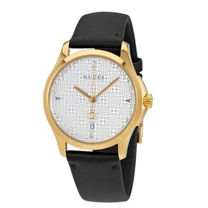 Gucci Original Swiss G-Timeless SIlver Dial Men's Black Leather Watch