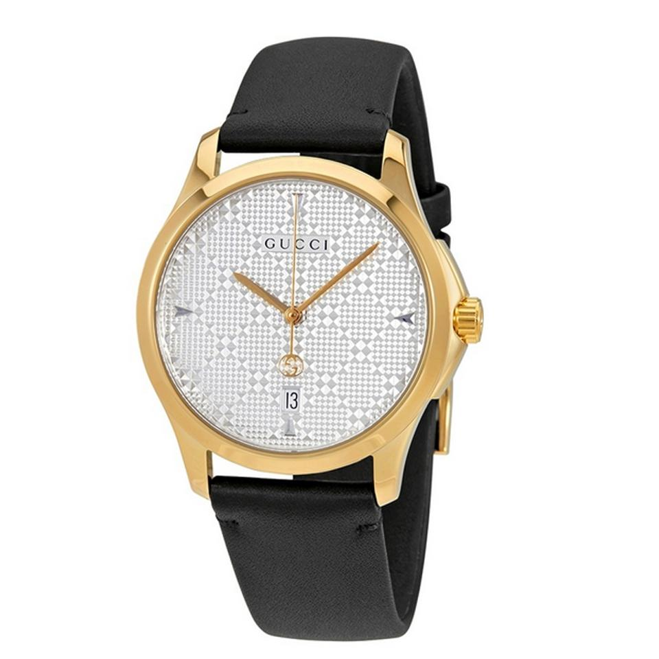 4fec8e56404 Gucci Original Swiss G-Timeless SIlver Dial Men s Black Leather Watch Image  0 ...