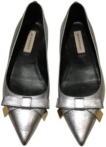 Burberry Silver Metallic Flats
