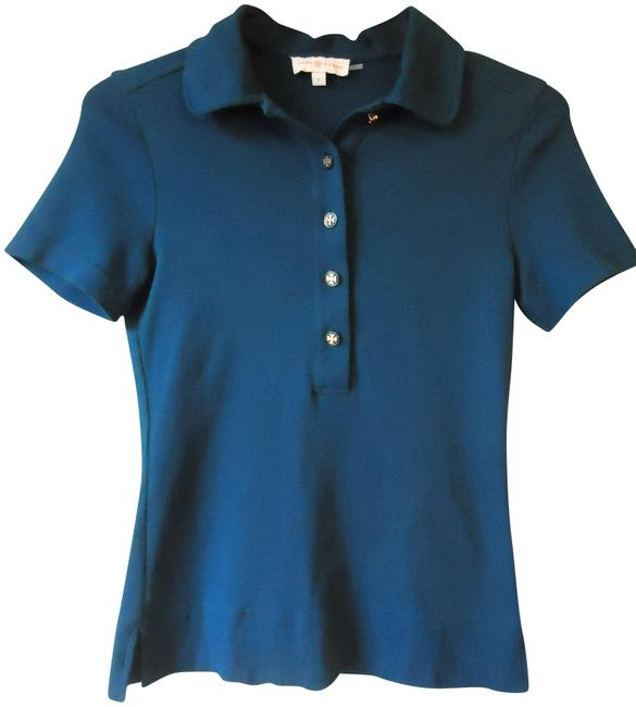 Tory burch teal signature polo tee shirt size 6 s tradesy for Tory burch t shirt