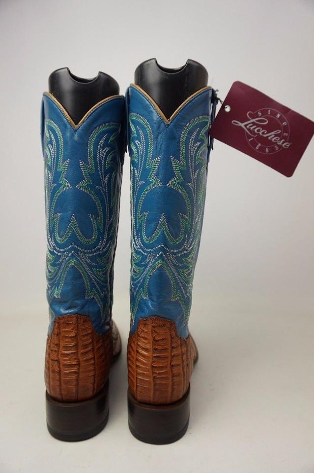 71c5bd62157 Lucchese Blue and Brown W Bootmaker M4945 Toe Cowboy Whiskey Hornback  Caiman Tail Boots/Booties Size US 8.5 Regular (M, B) 47% off retail