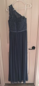 David's Bridal Steel Blue Chiffon and Lace F17063 Traditional Bridesmaid/Mob Dress Size 4 (S)