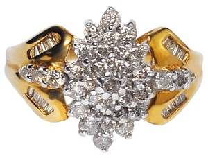 NY Collection Womens Genuine Diamond Cluster Flower Vintage Ring 10K Gold 1.00ct