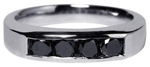 NY Collection Channel Set Real Black Diamond Wedding Band Unique 14K Gold