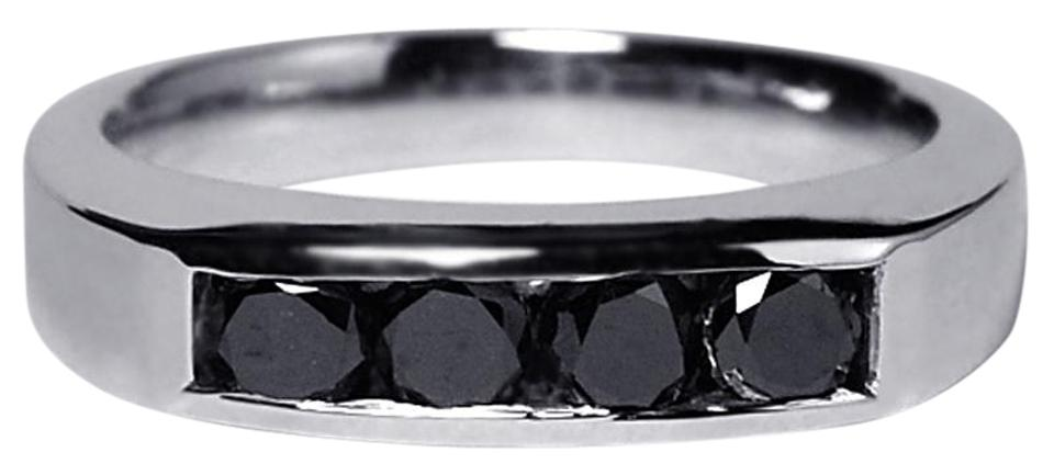 NY Collection White Channel Set Real Black Diamond Wedding Band Unique 14k  Gold Ring 53% off retail