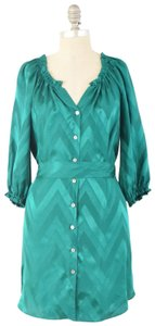 Alice & Trixie Jewel-tone Chevron Tie-waist Silk Dress