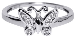 NY Collection Real Diamond Butterfly Band Unique 10K White Gold Channel Set