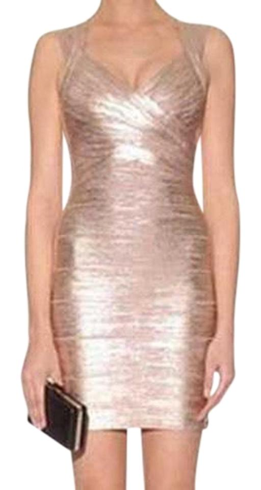 de0ac401b196 Hervé Leger Rose Gold Crisscross Metallic Bandage Short Night Out ...