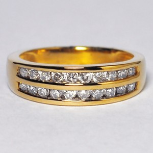 NY Collection Yellow Solid 10k Gold Channel Set 2 Rows Natural Diamond Classic Ring Women's Wedding Band