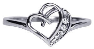 NY Collection Real Diamond Open Heart Shape Band Womens Unique 10K White Gold