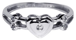 NY Collection Real Diamond Heart Shape Band Womens Unique 14K White Gold 0.12 ct