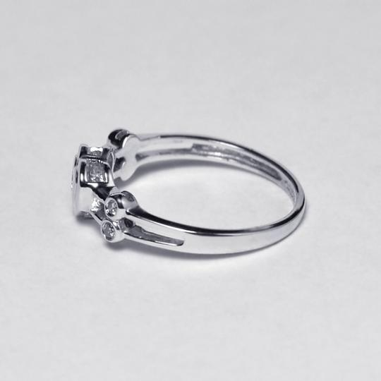 NY Collection Real Diamond Heart Shape Band Womens Unique 14K White Gold 0.12 ct Image 3