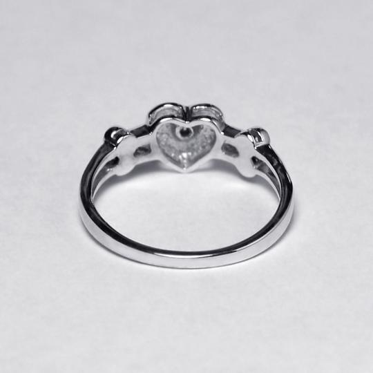 NY Collection Real Diamond Heart Shape Band Womens Unique 14K White Gold 0.12 ct Image 4