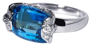 NY Collection Real London Blue Topaz Diamond Pinky Signet Womens Unique 14K Gold