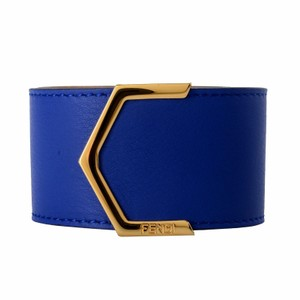 47be55ad27a8 Fendi Fendi 100% Leather Blue Button Closure Gold Tone Metal Unisex Bracelet