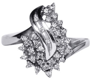NY Collection Real Diamond Cluster Abstract Ring 14K White Gold Womens Unique