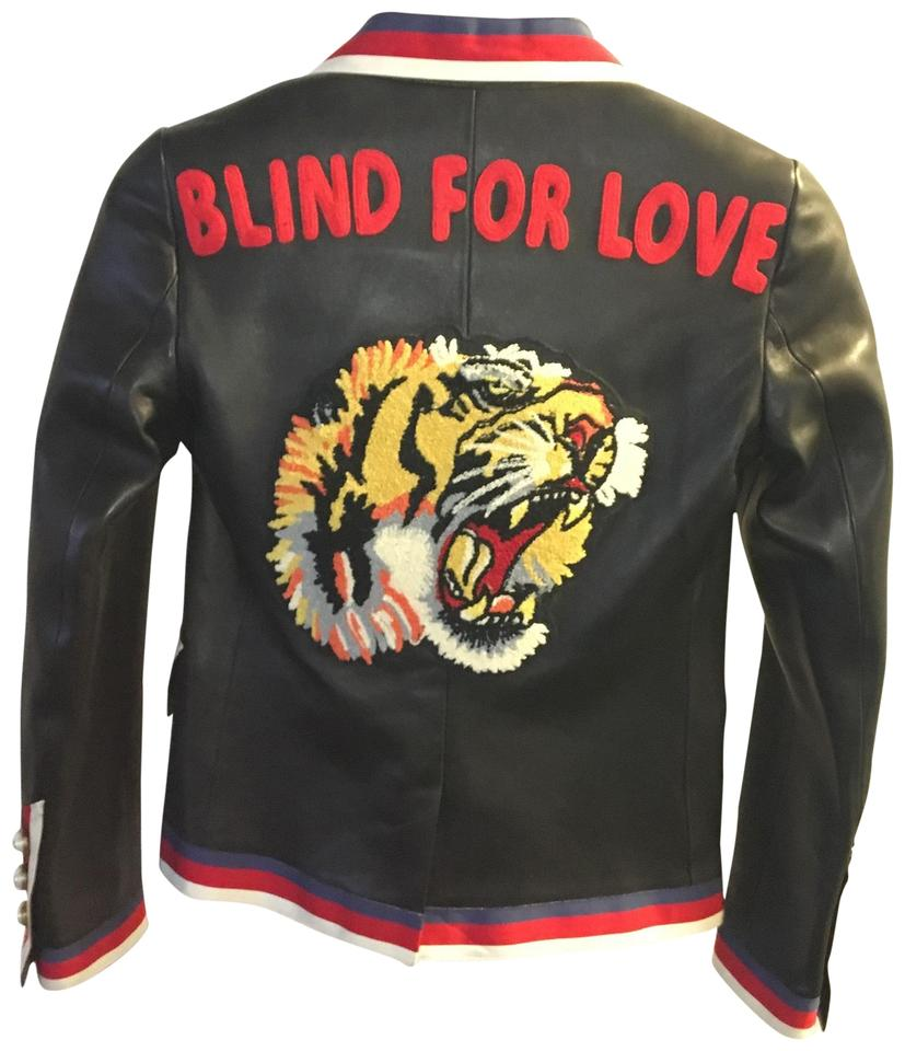 48be6596b Gucci Black Blind For Love Embroidered Leather Jacket Blazer Size 6 (S) 47%  off retail