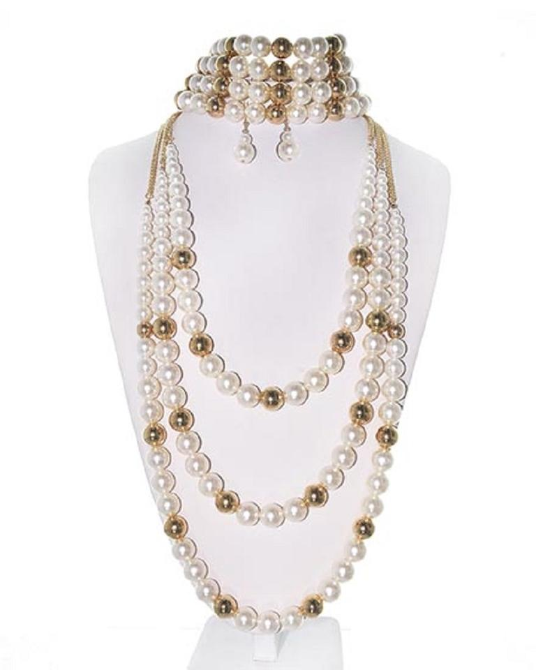 Multi Row Pearl Necklace: Cream Synthetic Pearl & Gold Multi Row Earring Set