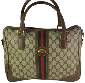 Gucci Vintage Bags Monogram Satchel in brown