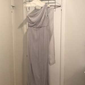 Amsale Light Grey Hint Of Blue Chiffon Bella Formal Bridesmaid/Mob Dress Size 6 (S)