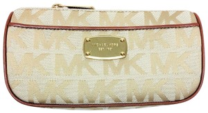 Michael Kors New ABBEY Jacquard Beige-Camel-Luggage Travel Pouch Cosmetic Case