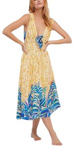 Yellow Blue Maxi Dress by Free People Fp New Romantics Gown Maxi Long Draped Bohemian Summer Vacation New