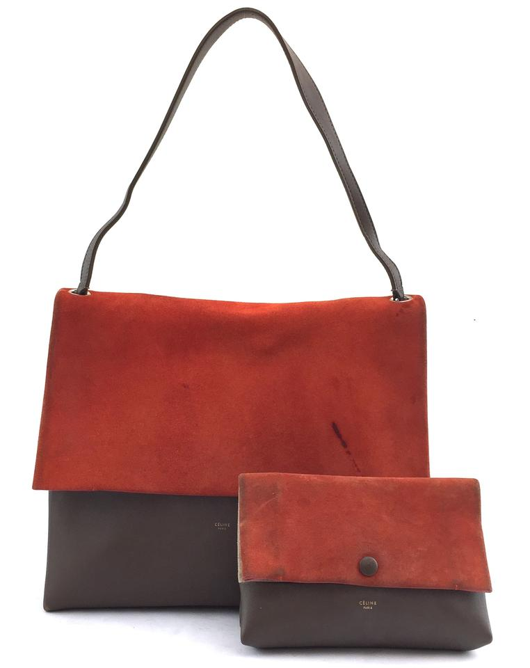 e26c592b0531 Céline All Soft  11552 with Pochette Shoulder Orange Grey Calf Leather and  Suede Leather Tote