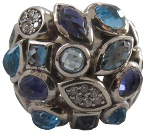 David Yurman Confetti Collection Large Blue Topaz/Amethyst/Diamond Ring