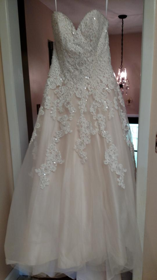 Allure bridals pink white light pink white lace with for Wedding dress with buttons all the way down