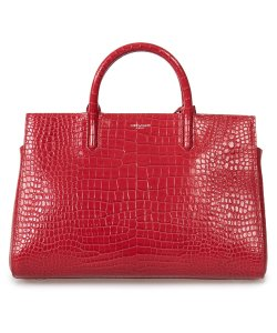 Saint Laurent Croc Cabas Gauche Tote in Red