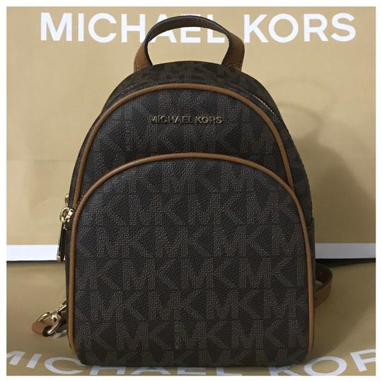 4e0f3ea592b0 Michael Kors Mk Abbey Xs Signature Brown Acorn Backpack - Tradesy