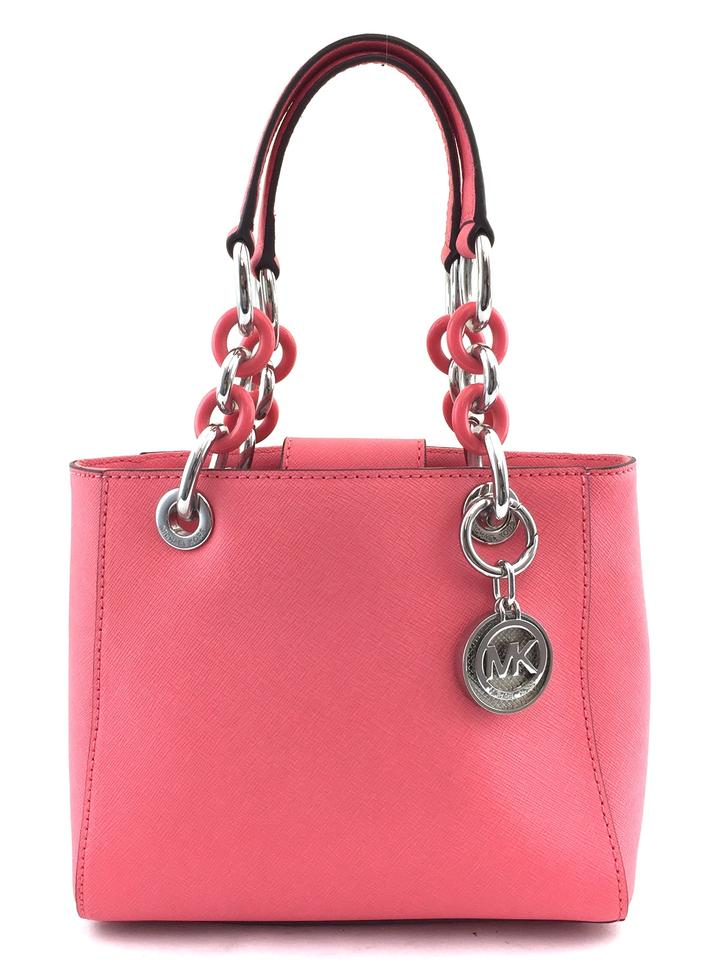 54db5b424347 Michael Kors Cynthia Small Coralsilver  9949 Pink Leather Satchel ...