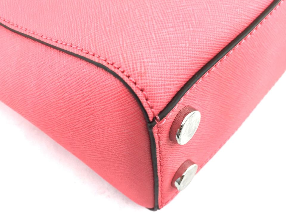 7910714fcd8aa4 Michael Kors Mk Coral Silver Cynthia Satchel in #9949 pink Image 10.  1234567891011