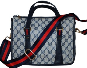 Gucci Accessory Collection Vintage Leather Gg Monogram Web Cross Body Bag