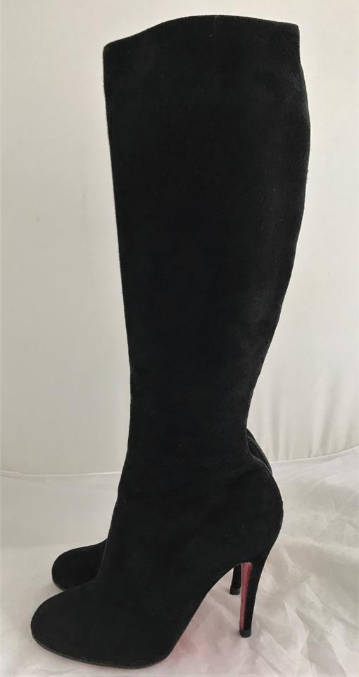 Black Christian Toe Suede Boots High Zip Over Booties 5it Alti Knee Louboutin Thigh Sole Lady Heel Red 38 66rq5Z