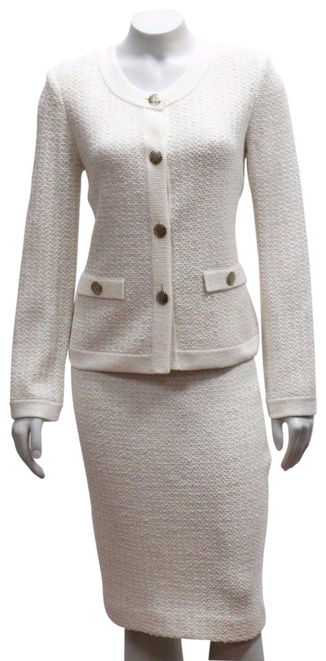 St John New Collection P 0 02 Tweed Suit 2pc Jacket Skirt