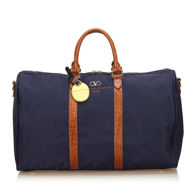 Item - Duffel Blue Fabric X Canvas X Leather X Others Weekend/Travel Bag