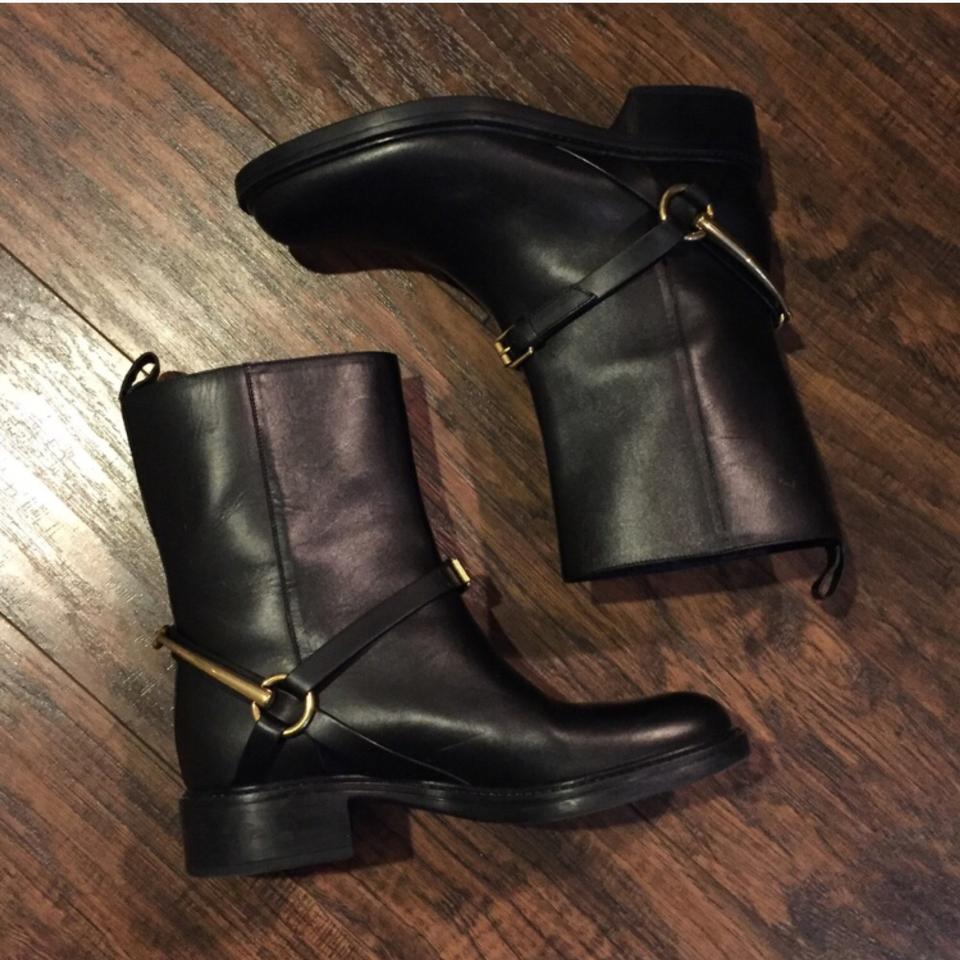 b4947dd25 Gucci Black Horsebit Tess Leather Ankle Boots/Booties Size EU 36 ...