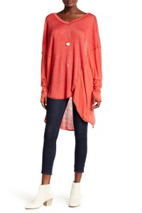 Free People V-neck Linen T Shirt Red